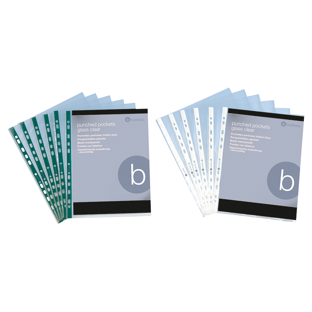 Image for Business Punched Pocket Polypropylene Top and Side-opening 60 Micron A4 Clear [Pack 100]
