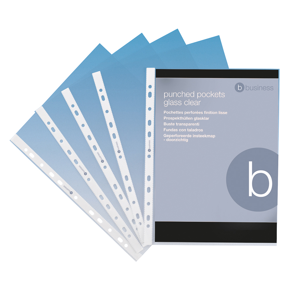 Image for Business Punched Pocket Polypropylene Top-opening 70 Micron A4 Clear [Pack 100]