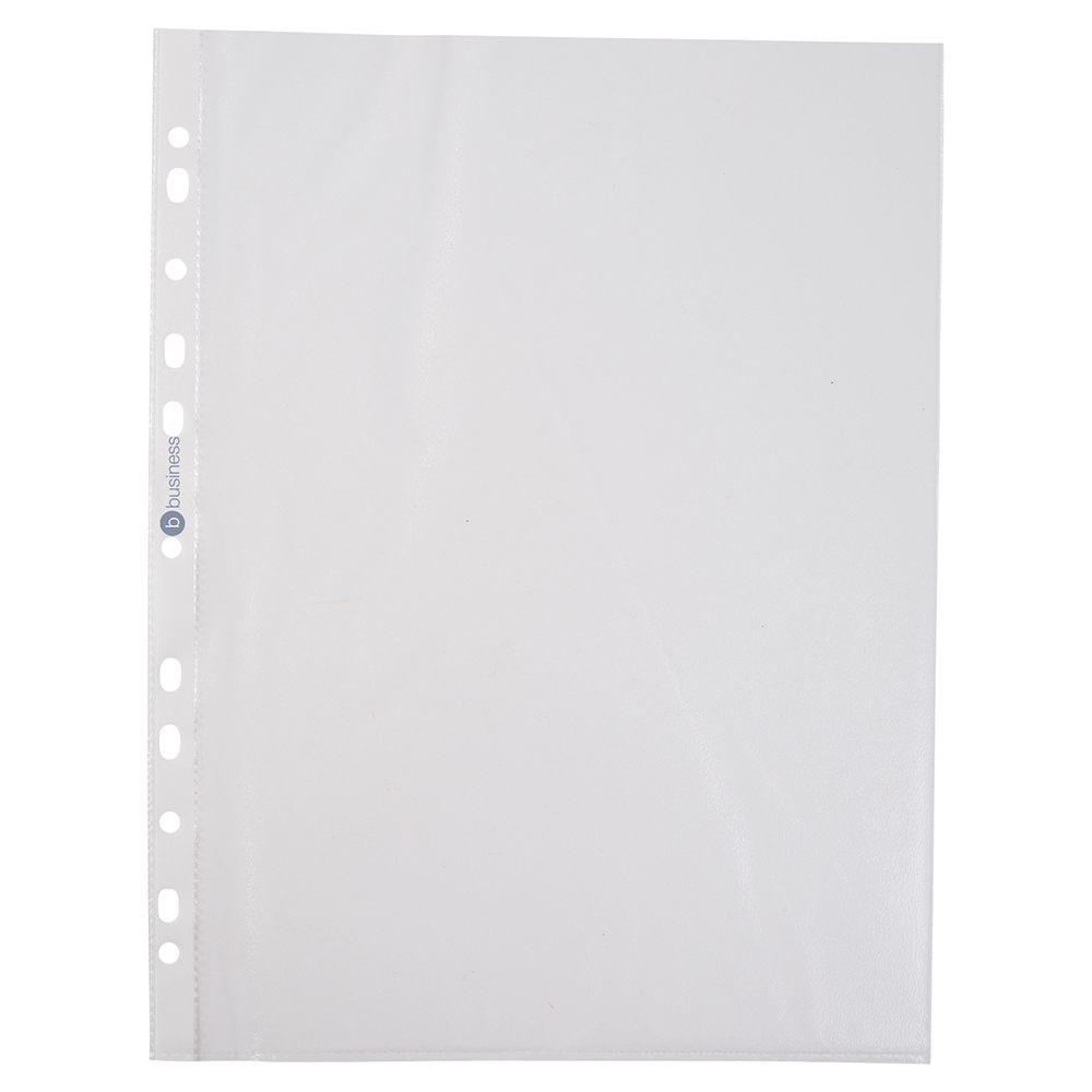 Image for Business Punched Pocket Polypropylene Open Top and Side 40 Micron A4 Clear [Pack 100]