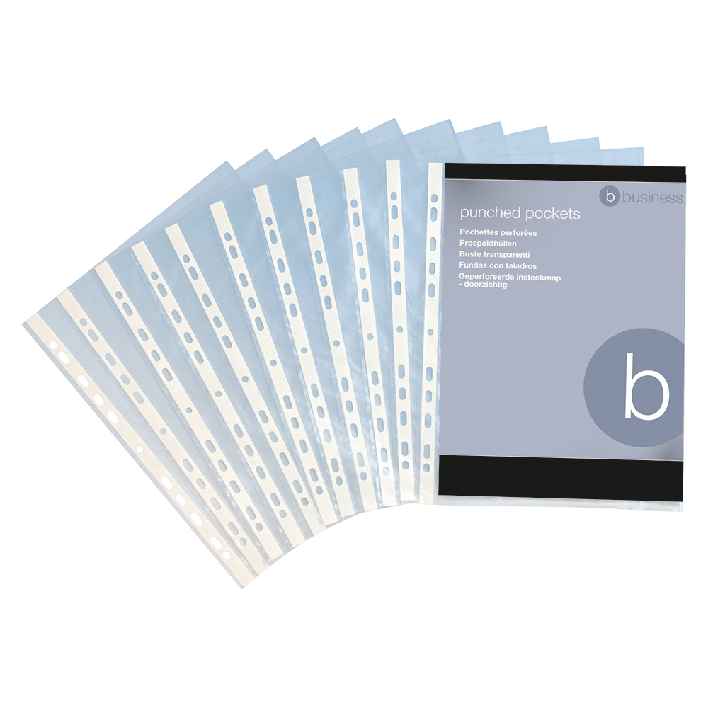 Business Punched Pocket Polypropylene Top-opening 40 Micron A4 Clear [Pack 100]