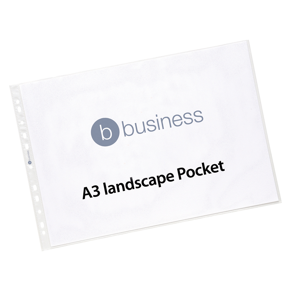 Business Punched Pocket Polypropylene Top-opening Landscape 120 Micron A3 [Pack 25]