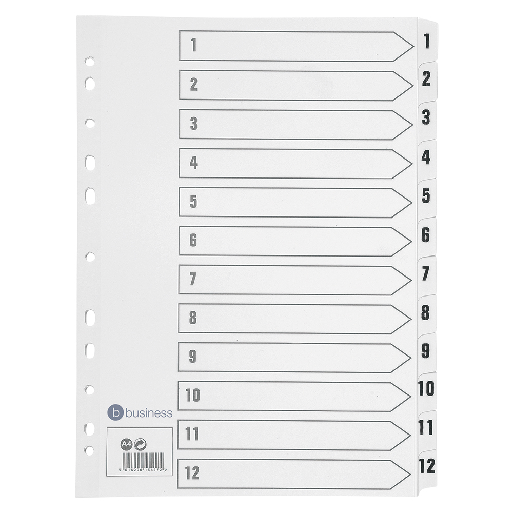 Business Index 150gsm Card with Mylar Tabs 1-12 A4 White