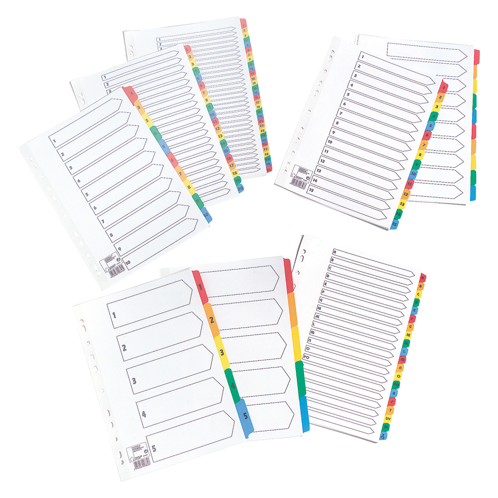 Image for Business Index 150gsm Card with Coloured Mylar Tabs 1-5 A4 White