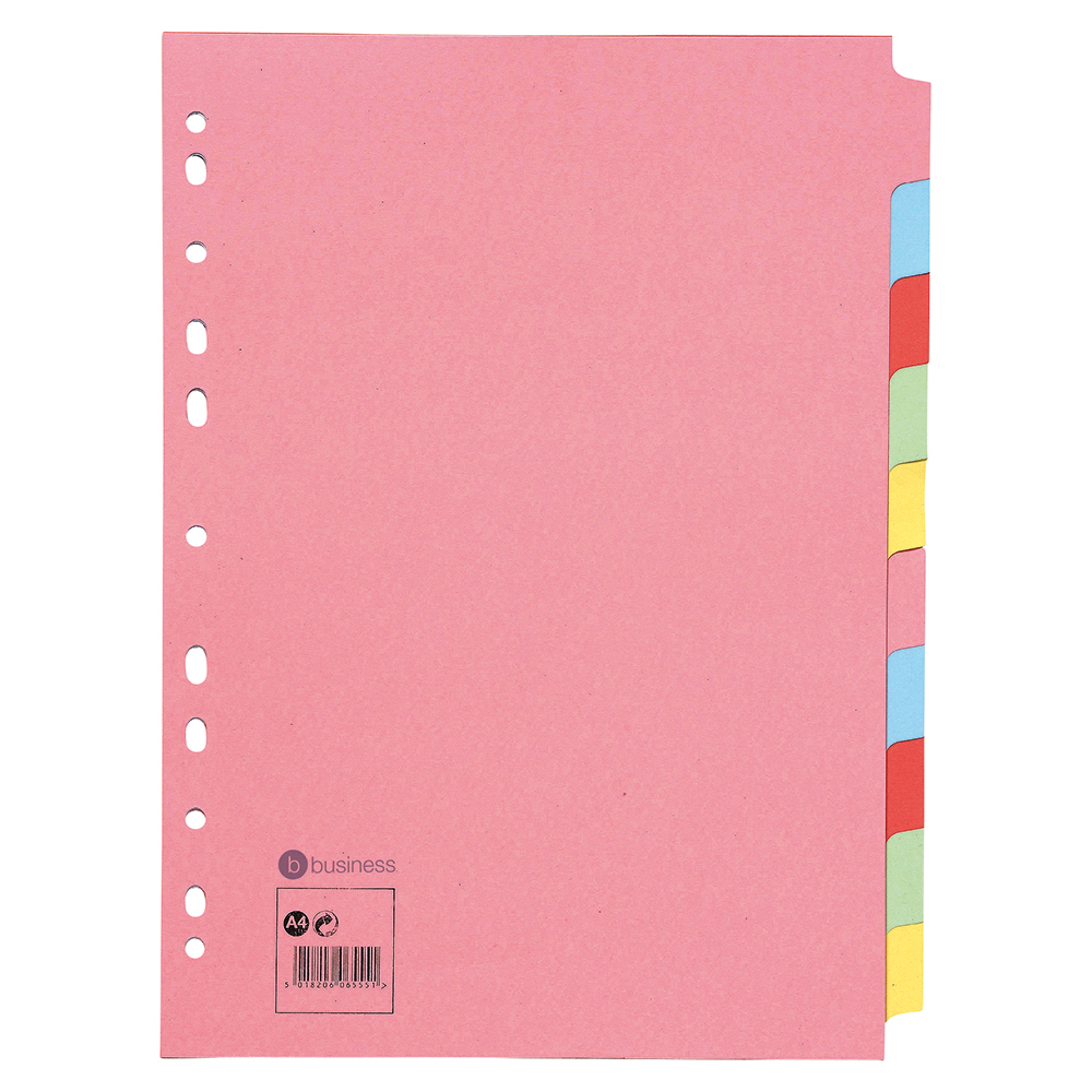 Image for Business Subject Dividers Multipunched Manilla Card 10-Part A4 Assorted [Pack 10]