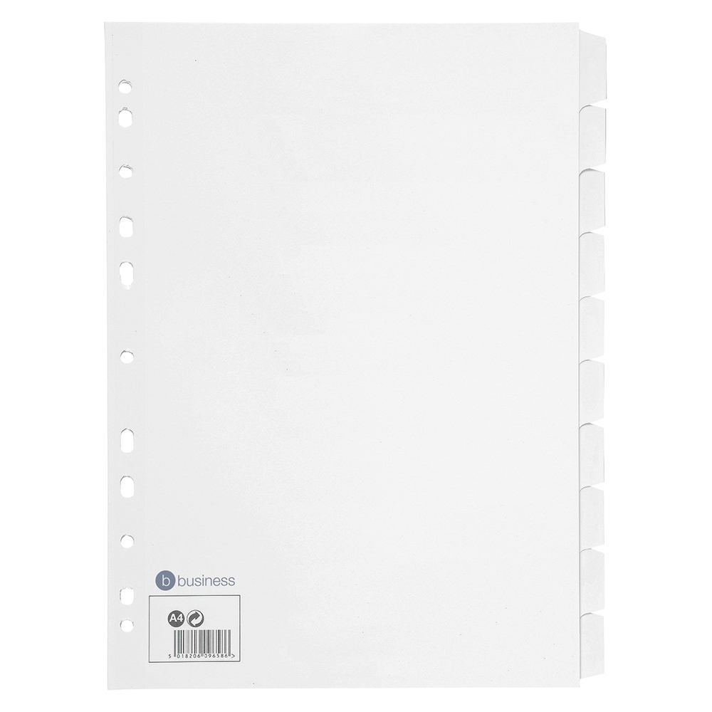 Image for Business Subject Dividers Multipunched Manilla Card 10-Part A4 White [Pack 10]