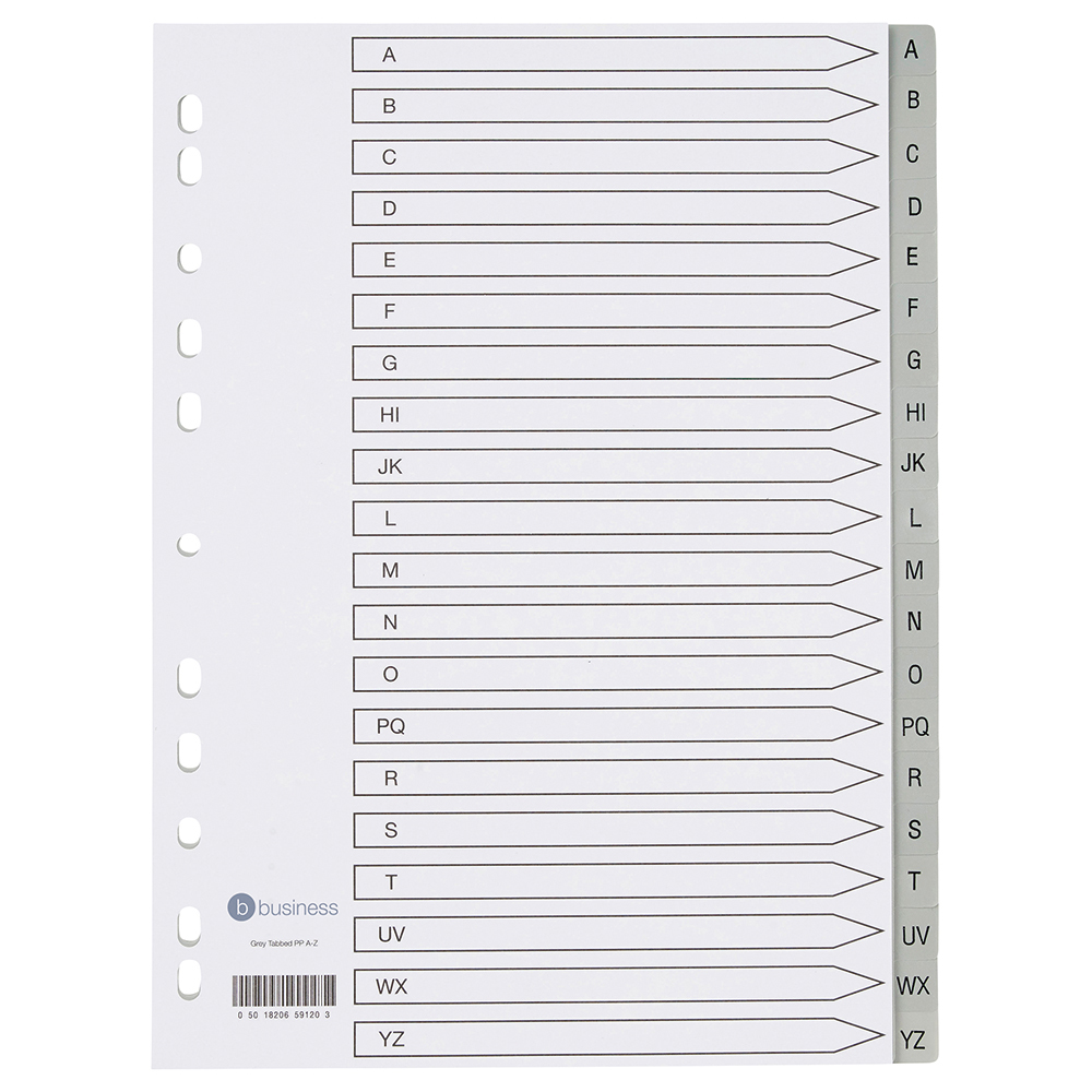 Image for Business Premium File Index Grey Tabs Polypropylene A-Z White