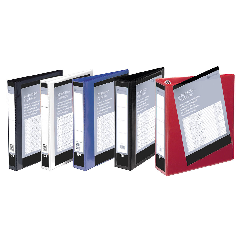 Image for Business Presentation Ring Binder PVC 4 D-Ring 25mm Size A4 Red [Pack 10]