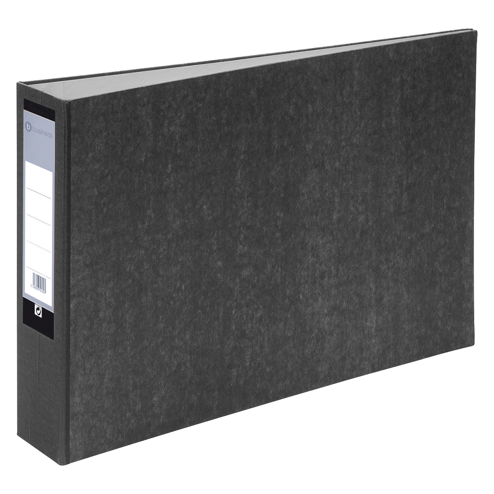 Business Lever Arch File 70mm Spine Oblong Landscape A3 Cloudy Grey [Pack 2]