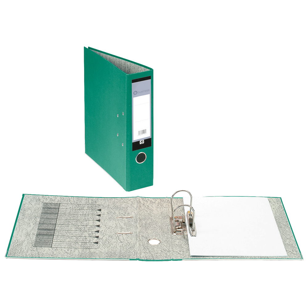 Business Lever Arch File 70mm Foolscap Green [Pack 10]