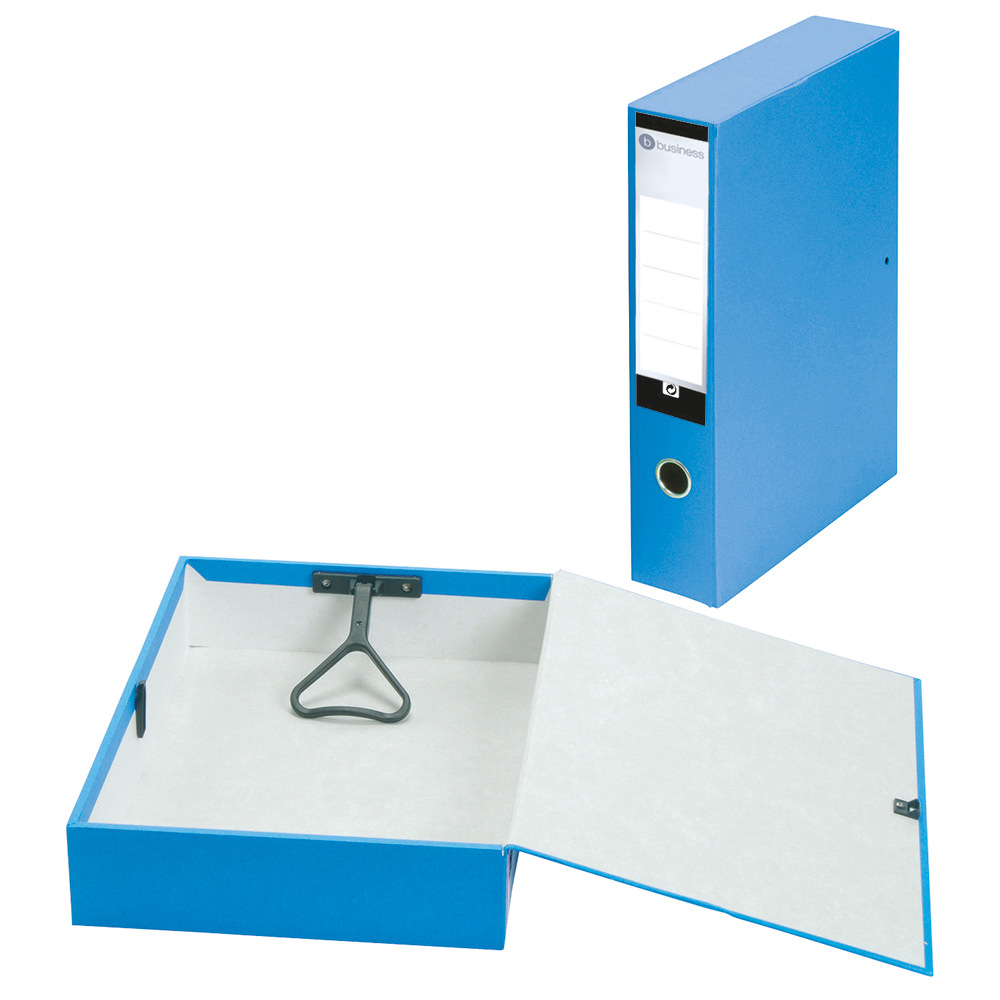 Business Box File Lock Spring with Ring Pull and Catch 70mm Capacity Foolscap Blue [Pack 5]