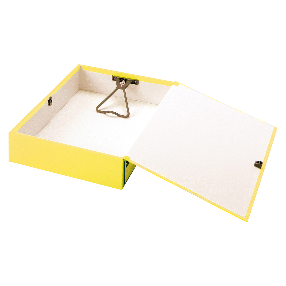 Image for Business Box File Lock Spring with Push Button Closure 70mm Capacity Foolscap Yellow [Pack 5]