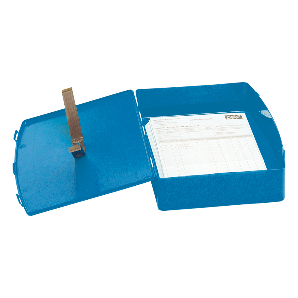 Business Box File Polypropylene with Twin Clip Lock Foolscap Blue