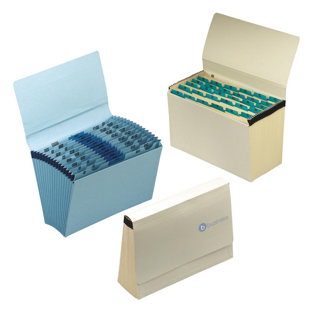 Image for Business De Luxe Expanding File with Flap 16 Pockets A-Z 12 Months 1-31 Foolscap Blue