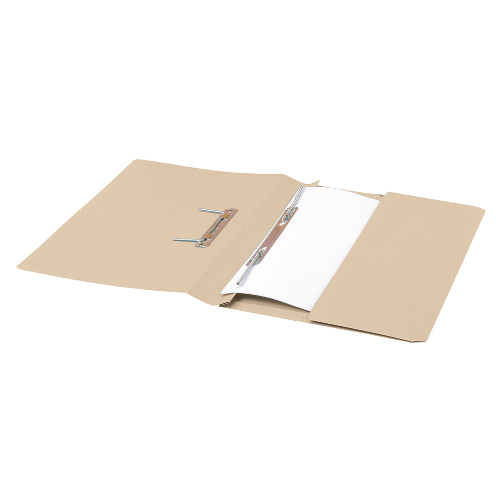 Business Transfer Spring Pocket File Recycled 285gsm Capacity 38mm Foolscap Buff [Pack 25]