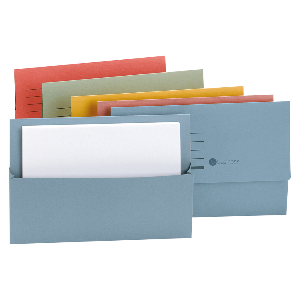 Business Document Wallet Half Flap 250gsm Recycled Capacity 32mm Foolscap Assorted [Pack 50]