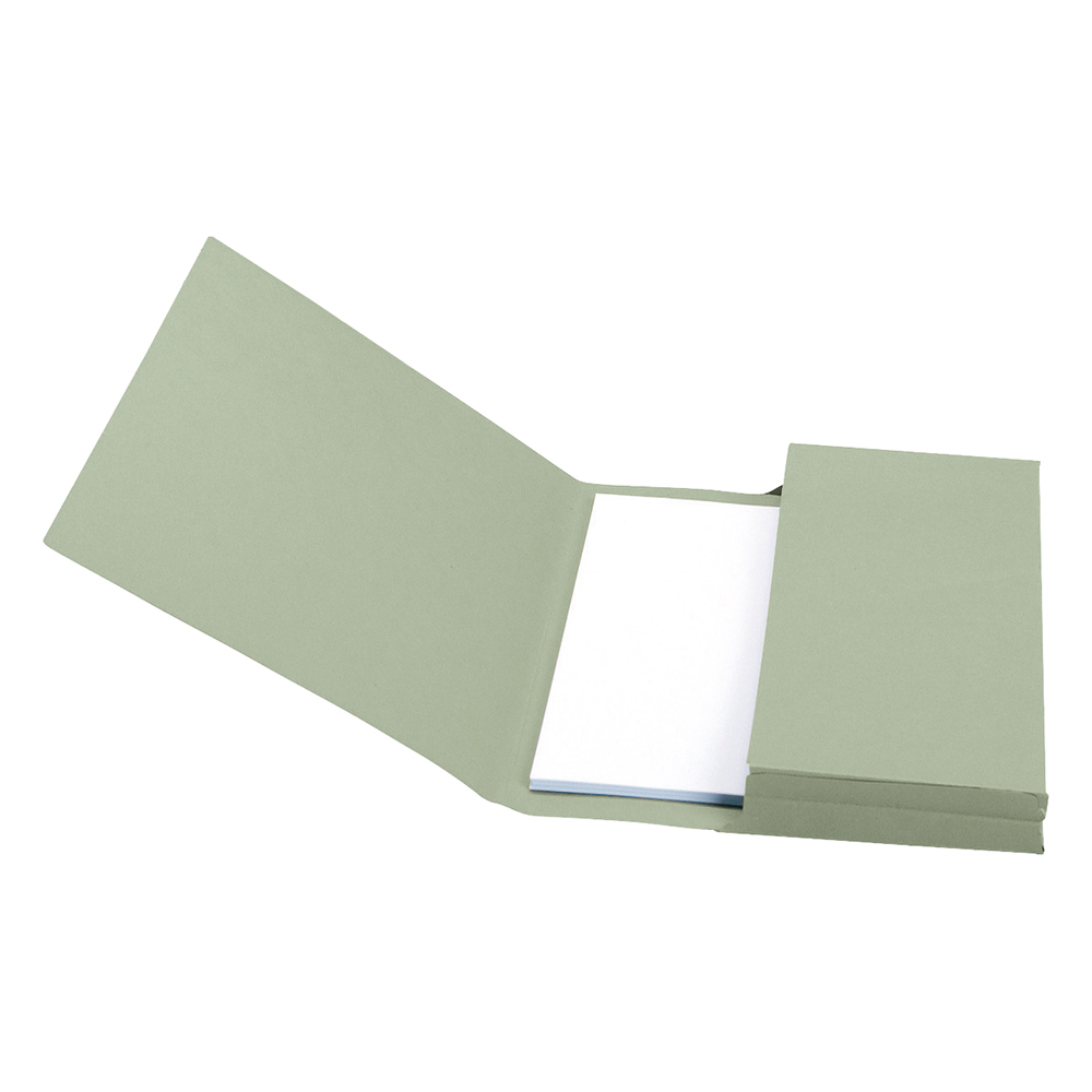Image for Business Document Wallet Full Flap 285gsm Recycled Capacity 32mm Foolscap Green [Pack 50]