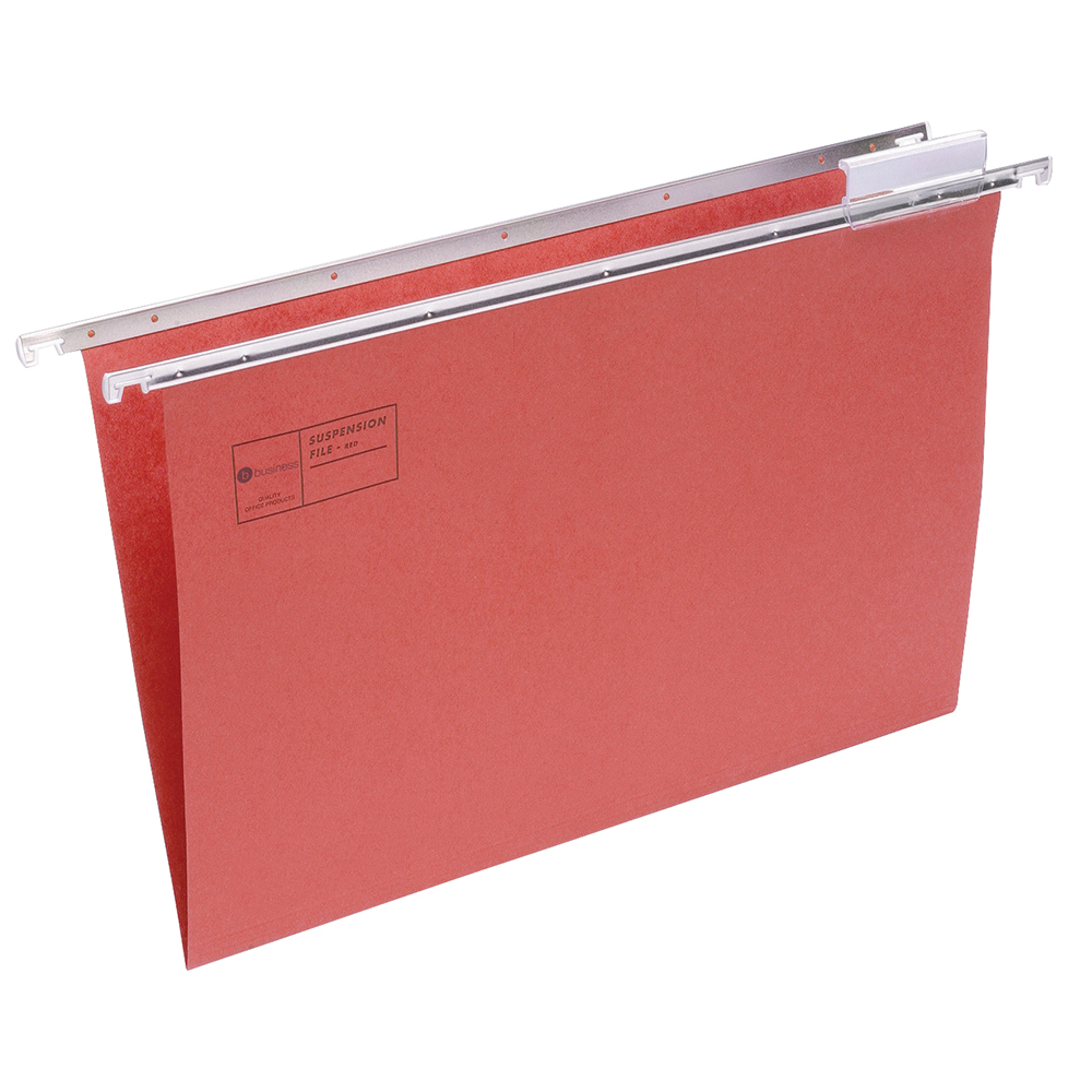 Business Suspension File Manilla with Tabs and Inserts Foolscap Red [Pack 50]