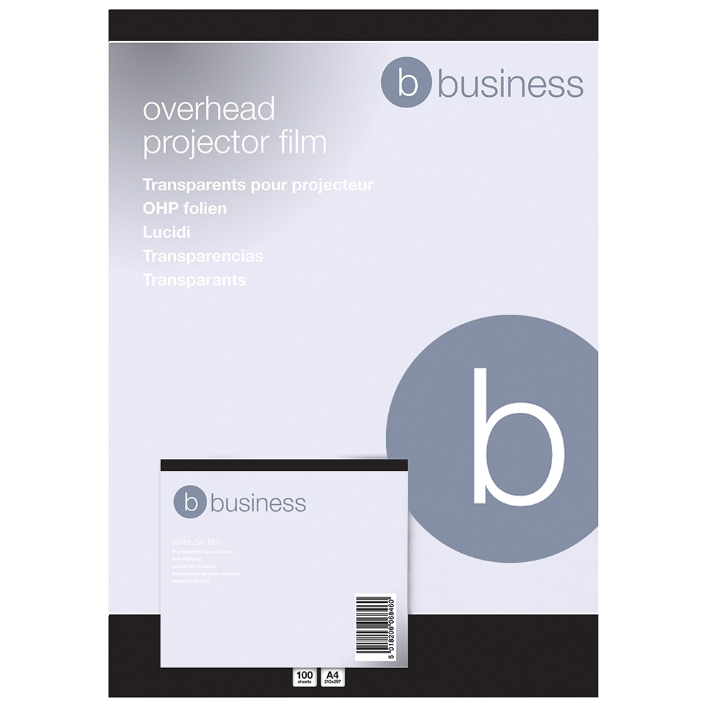Business OHP Film Write-on 85 Micron Clear [Pack 100]