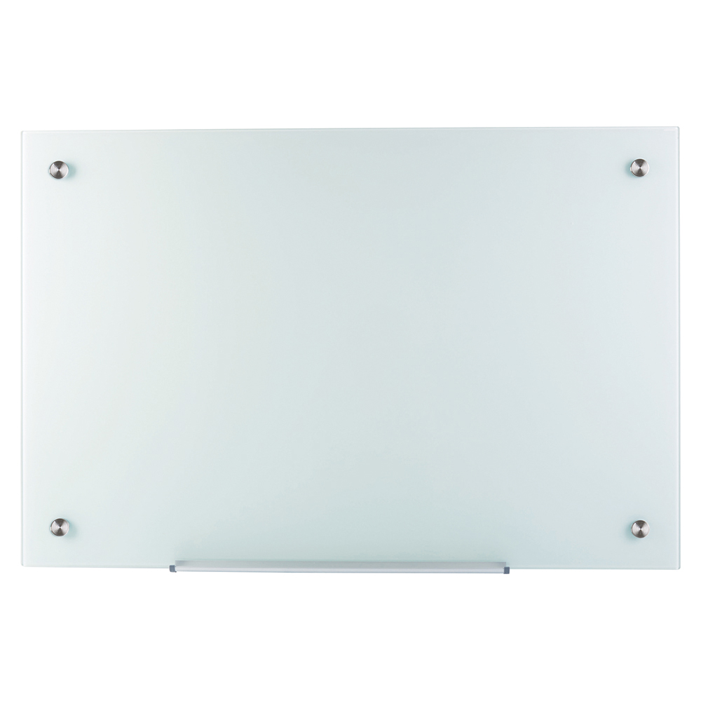 Business Glass Board Magnetic with Wall Fixings W900xH600mm White