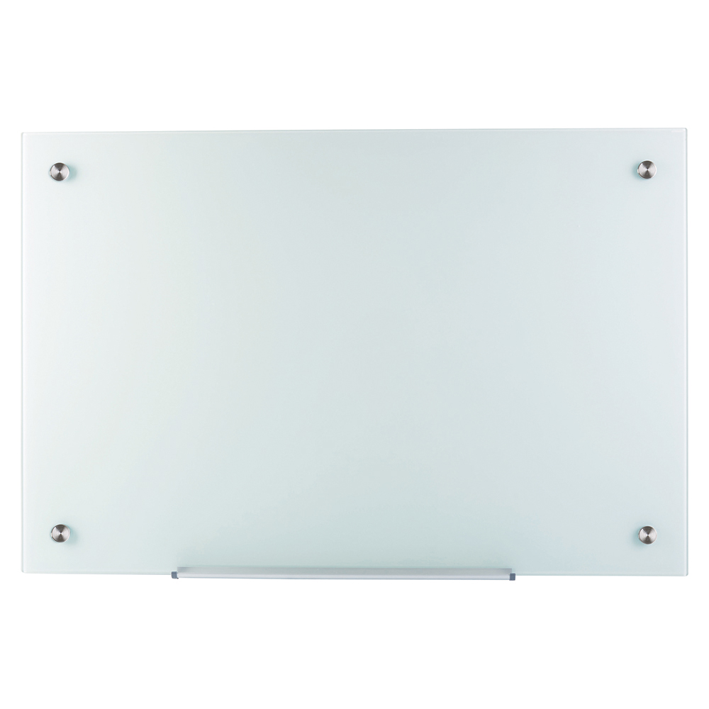 Business Glass Board Magnetic with Wall Fixings W1200xH900mm White