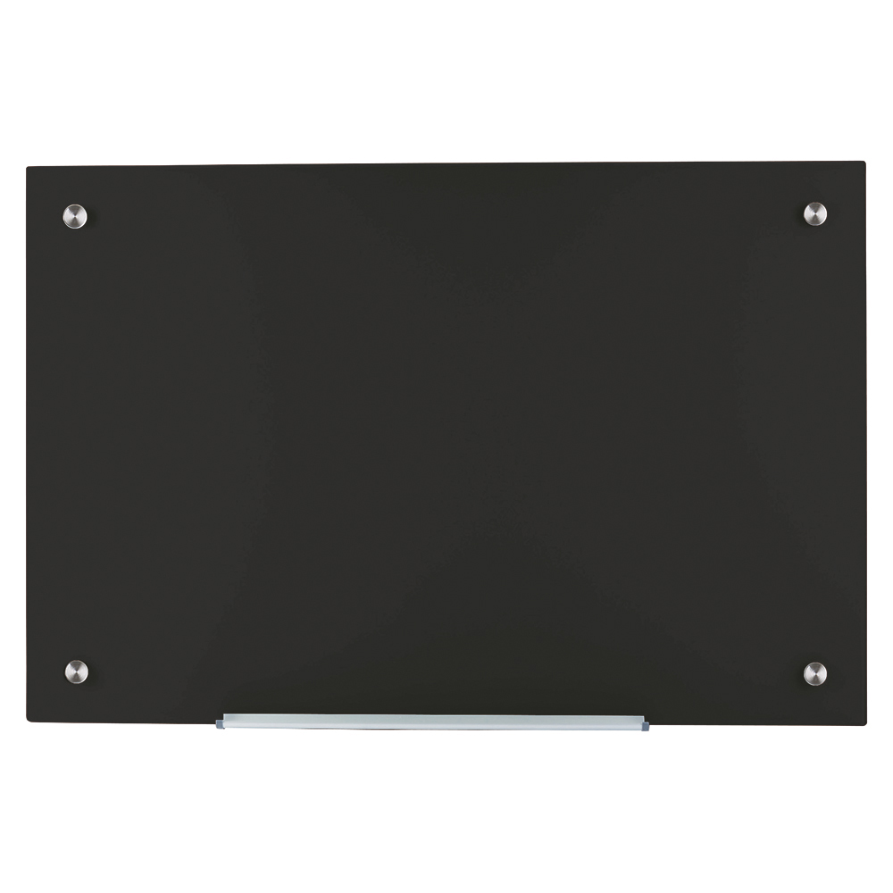 Business Glass Board Magnetic with Wall Fixings W1000xH650mm Black