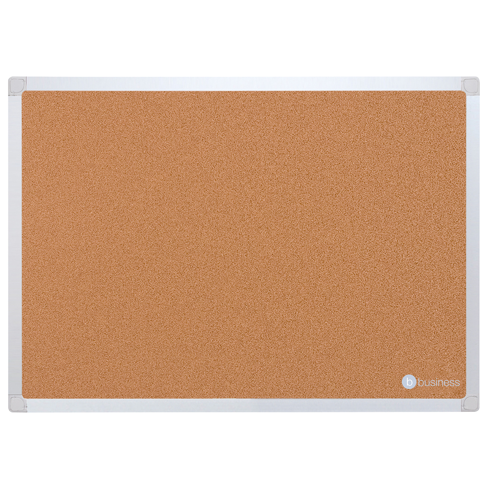 Business Eco Cork Board with Wall Fixing Kit Aluminium Frame W900xH600mm