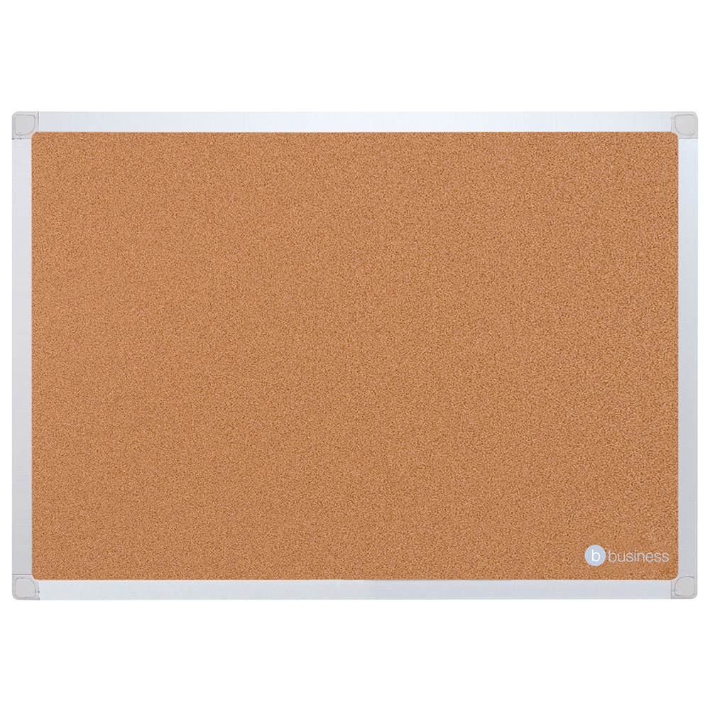 Business Eco Cork Board with Wall Fixing Kit Aluminium Frame W1200xH900mm