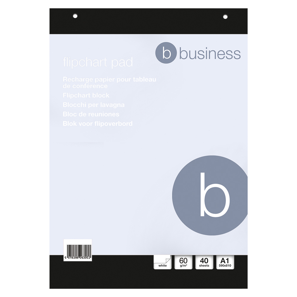 Business Flipchart Pad Perforated 40 Sheets A1 Plain