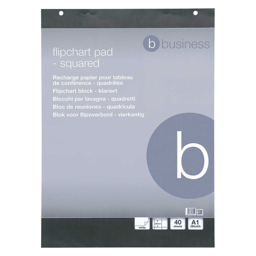 Business Flipchart Pad Perforated 40 Sheets A1 Feint 20mm Squared [Pack 5]