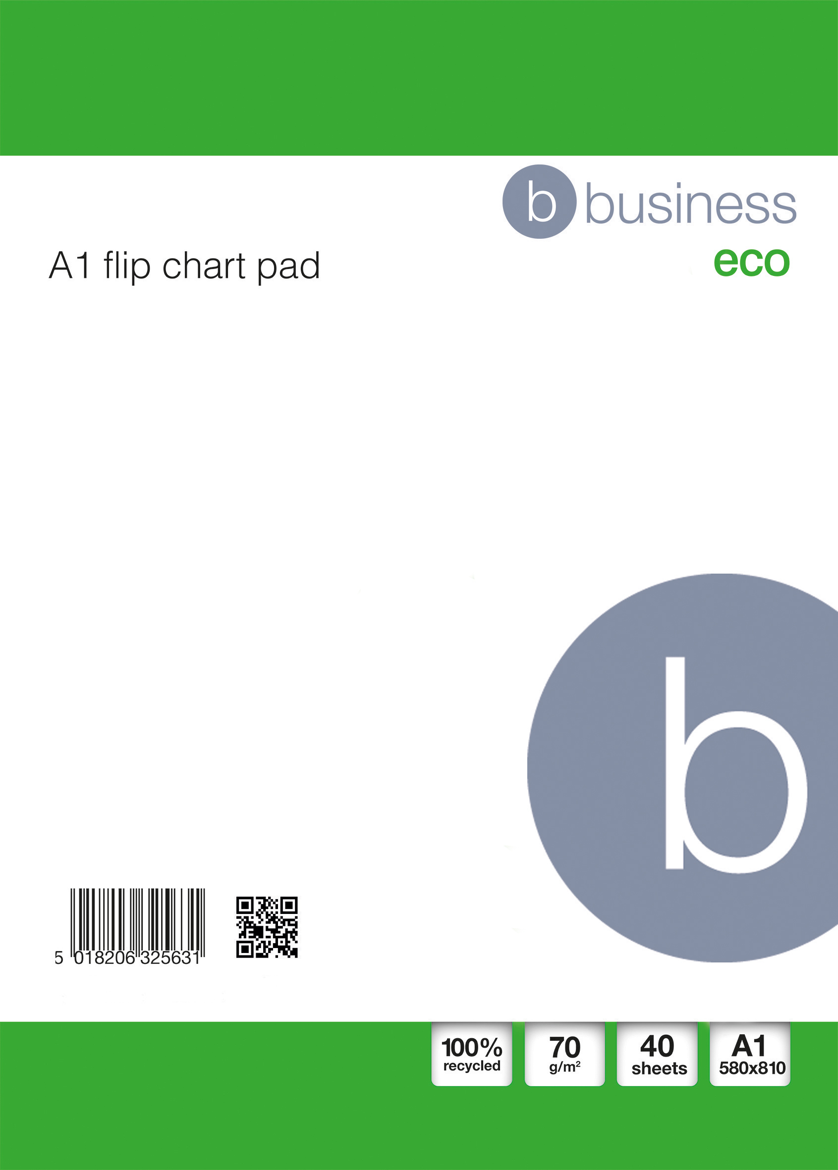 Image for Business Eco Flipchart Pad Recycled Perforated 70gsm 40 Sheets A1 White [Pack 5]