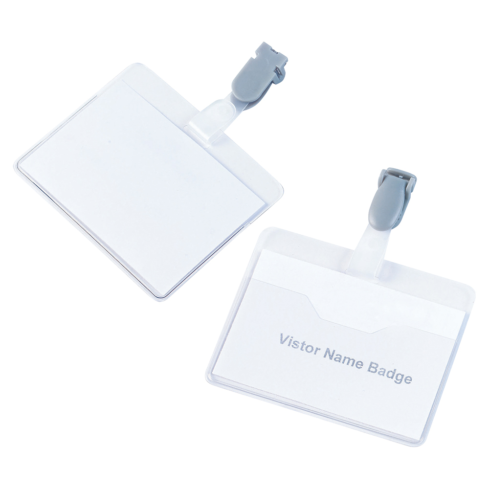 Business Name Badges Visitors Landscape with Plastic Clip 60x90mm [Pack 25]