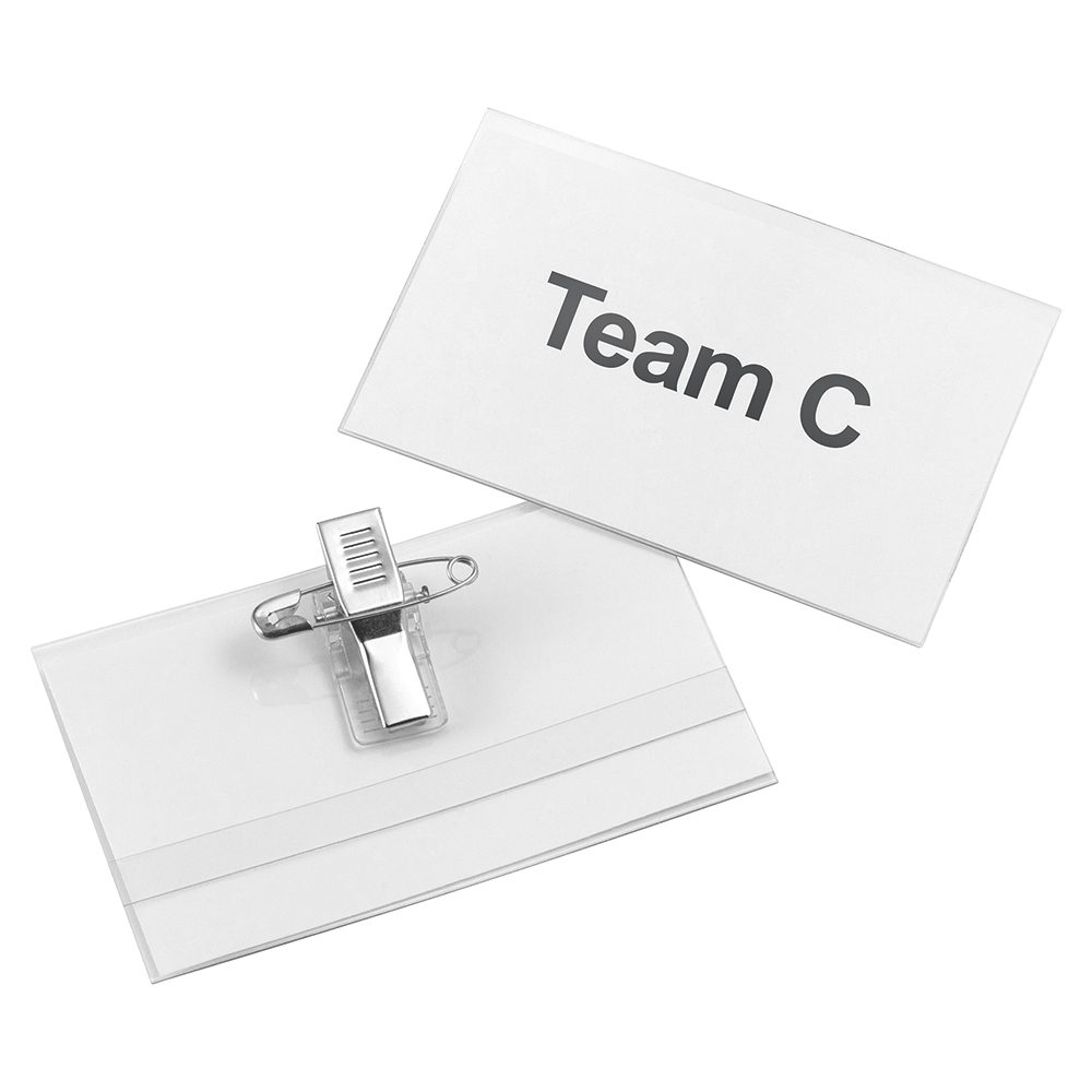 Business Name Badge with Combi-Clip 45x75mm [Pack 50]