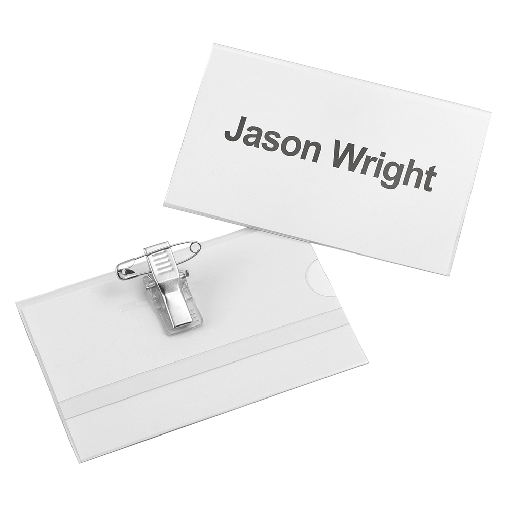 Business Name Badge with Combi-Clip PVC 54x90mm [Pack 25]