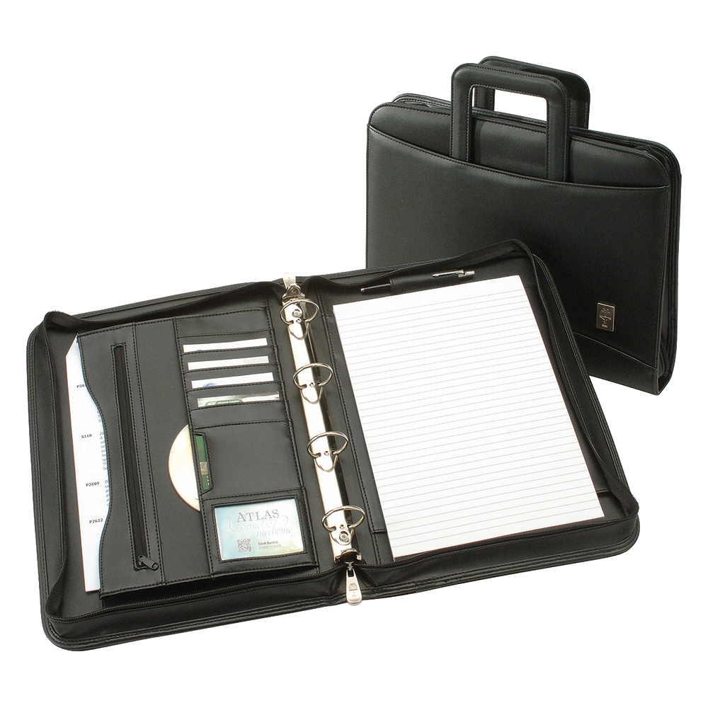 Image for Business Zipped Conference Ring Binder with Handles Capacity 60mm A4 Leather Look Black