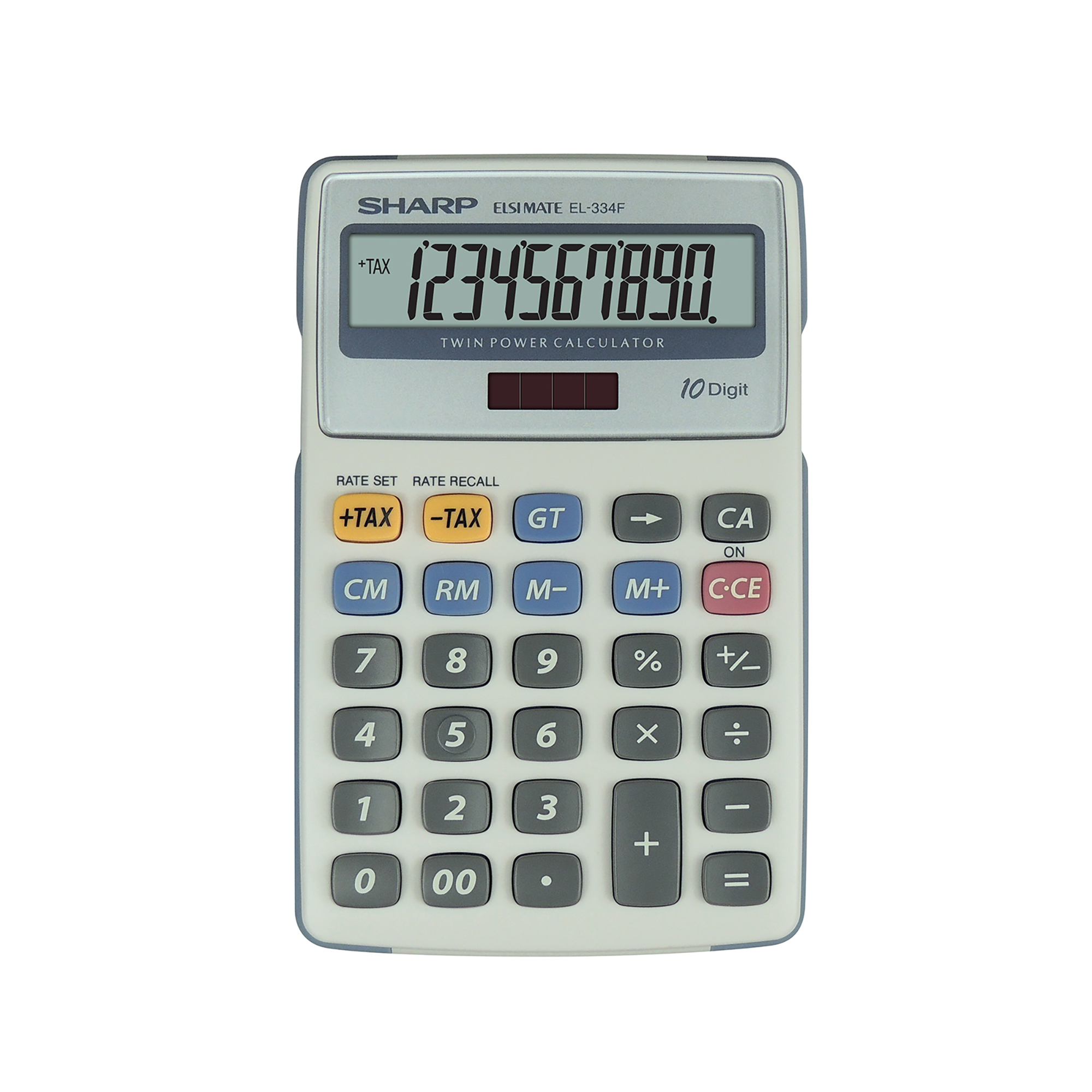 Sharp Desktop Calculator 10 Digit 4 Key Memory Battery/Solar Power 108x15x170mm White Ref EL334FB