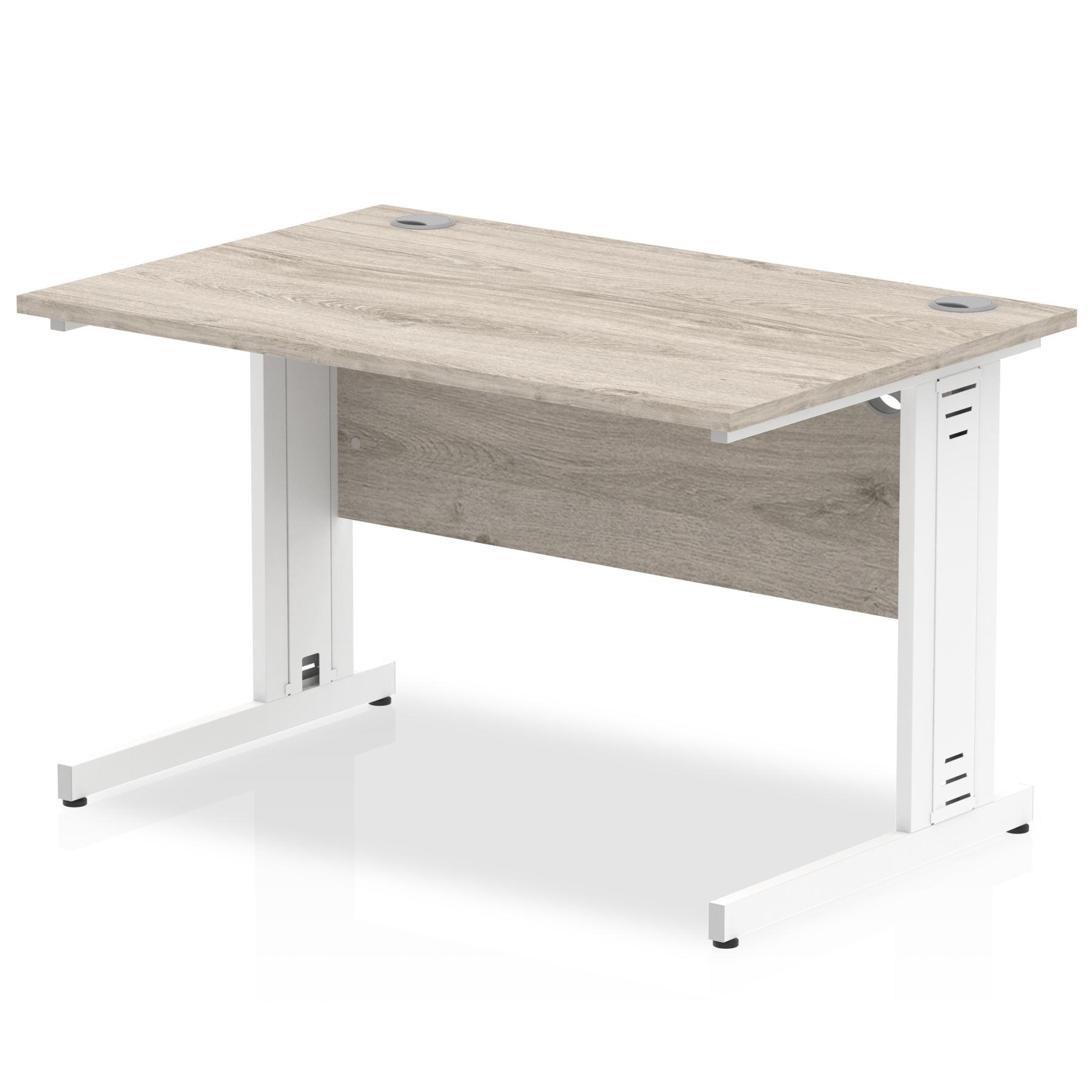 Trexus Rectangular Desk White Cable Managed Leg 1000x800mm Grey Oak Ref I003097