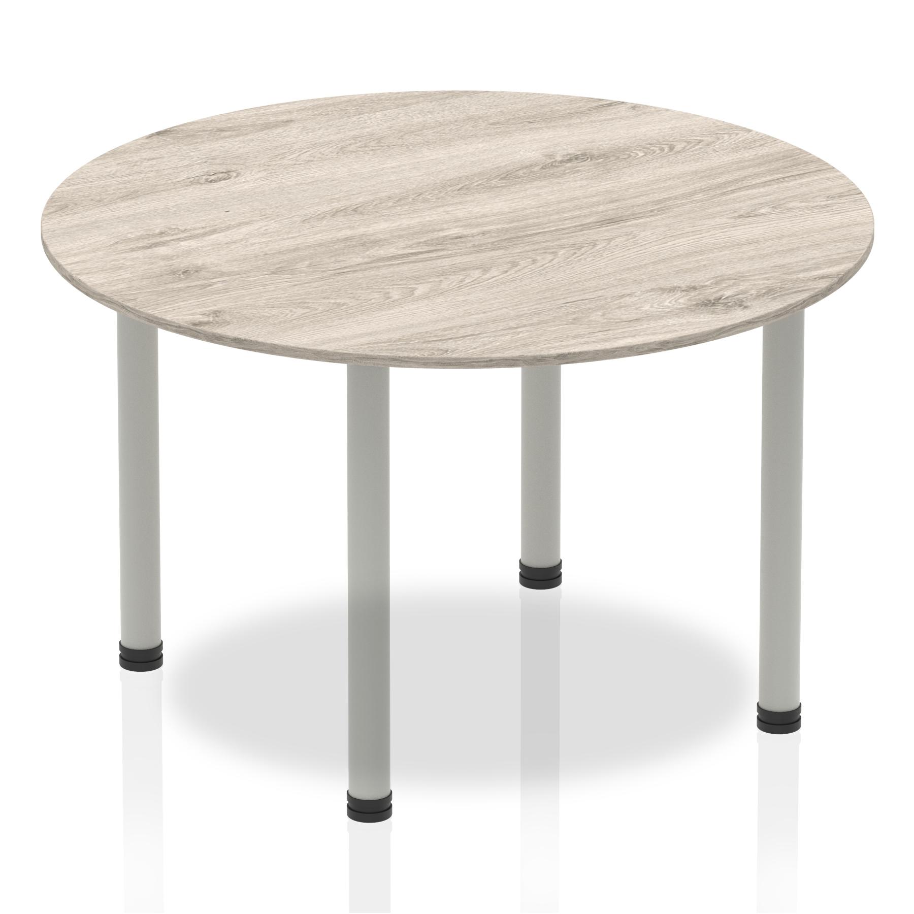 Sonix Circular Silver Post Leg Table 1200mm Grey Oak Ref I003249
