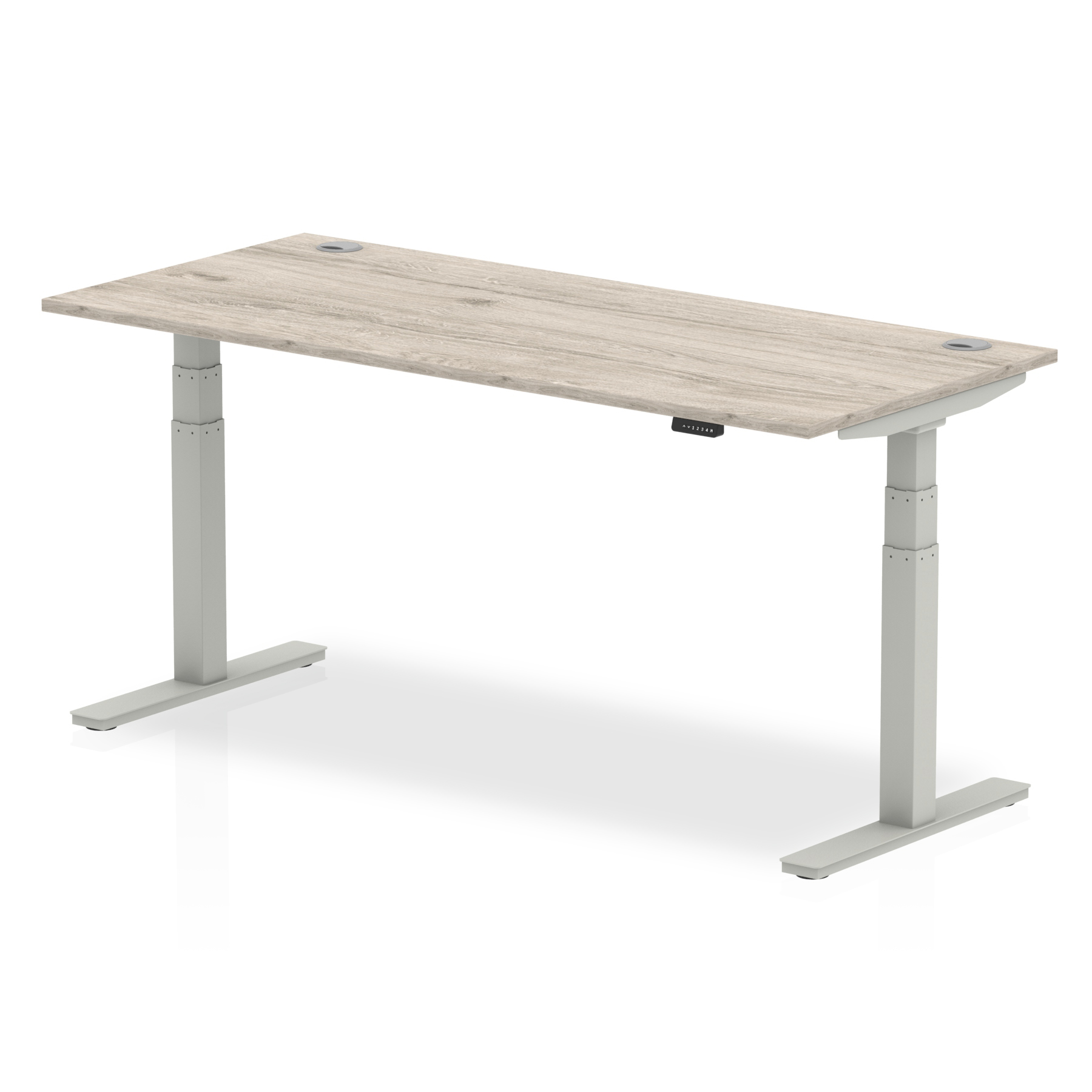 Trexus Sit Stand Desk With Cable Ports Silver Legs 1800x800mm Grey Oak Ref HA01175
