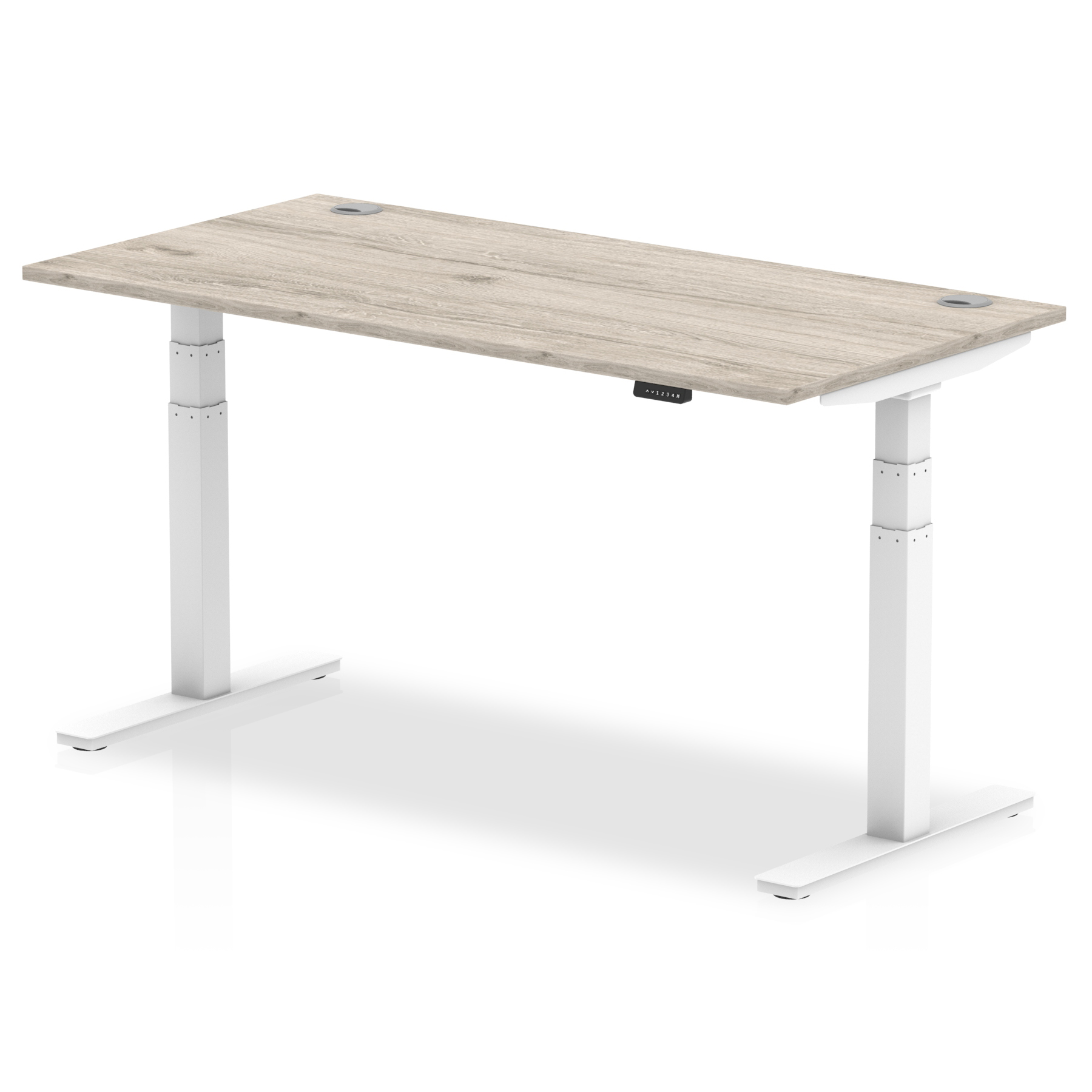 Trexus Sit Stand Desk With Cable Ports White Legs 1600x800mm Grey Oak Ref HA01174