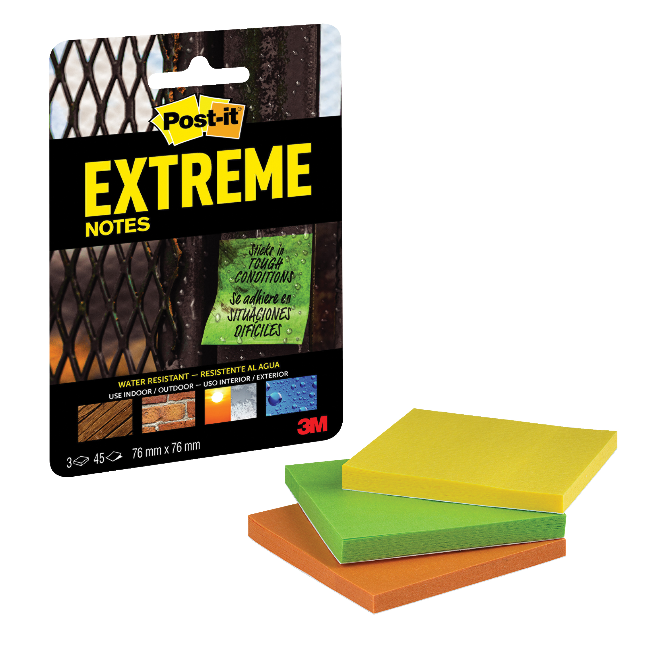 Self adhesive note paper Post-it Extreme Notes 76x76mm Assorted 3 Colours Ref EXT33M-3-UKSP Packs of 3 Pads x 45 Sheets
