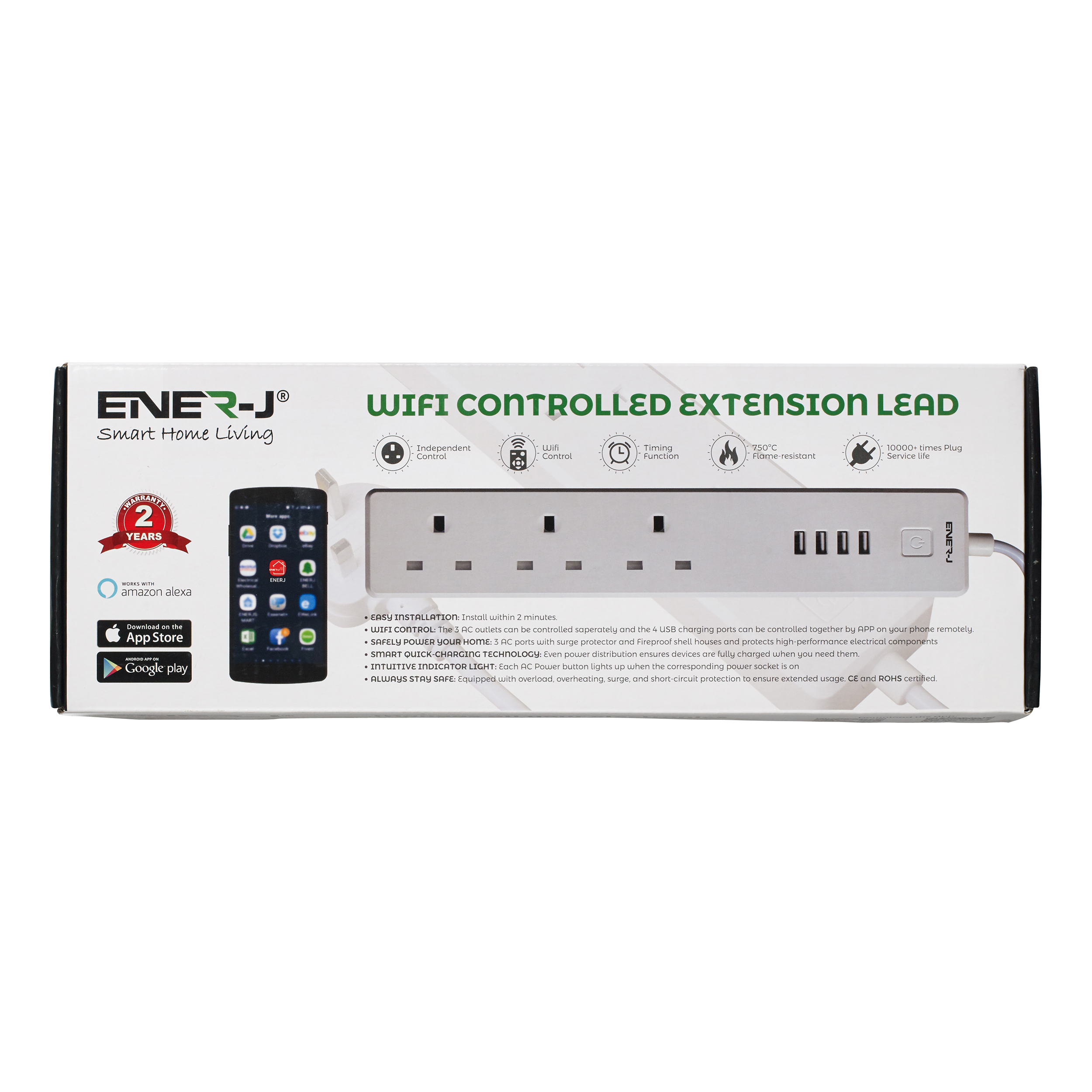 Cables & Adaptors Ener-J WiFi Power Extension Lead 1.8metre With 3 AC Ports And Surge Protector Ref SHA5207