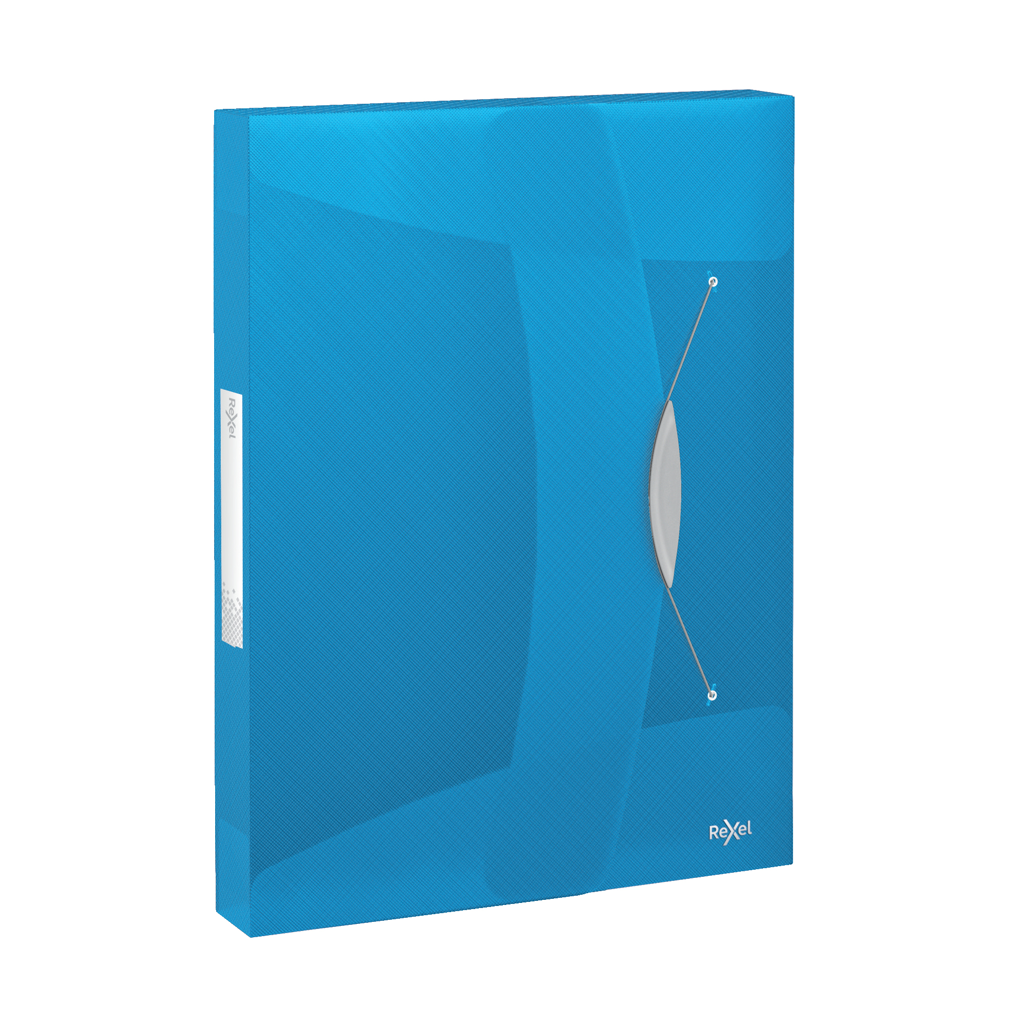 Rexel Choices Box File PP Elastic Strap 40mm Spine A4 Trans Blue Ref 2115667