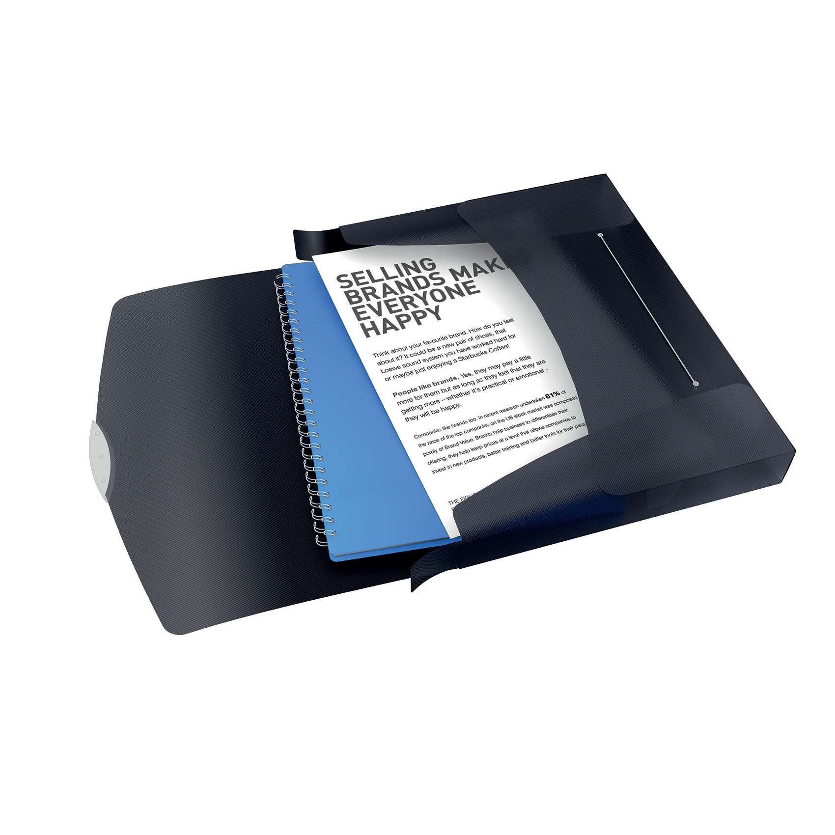 Rexel Choices Box File PP Elastic Strap 40mm Spine A4 Trans Black Ref 2115669