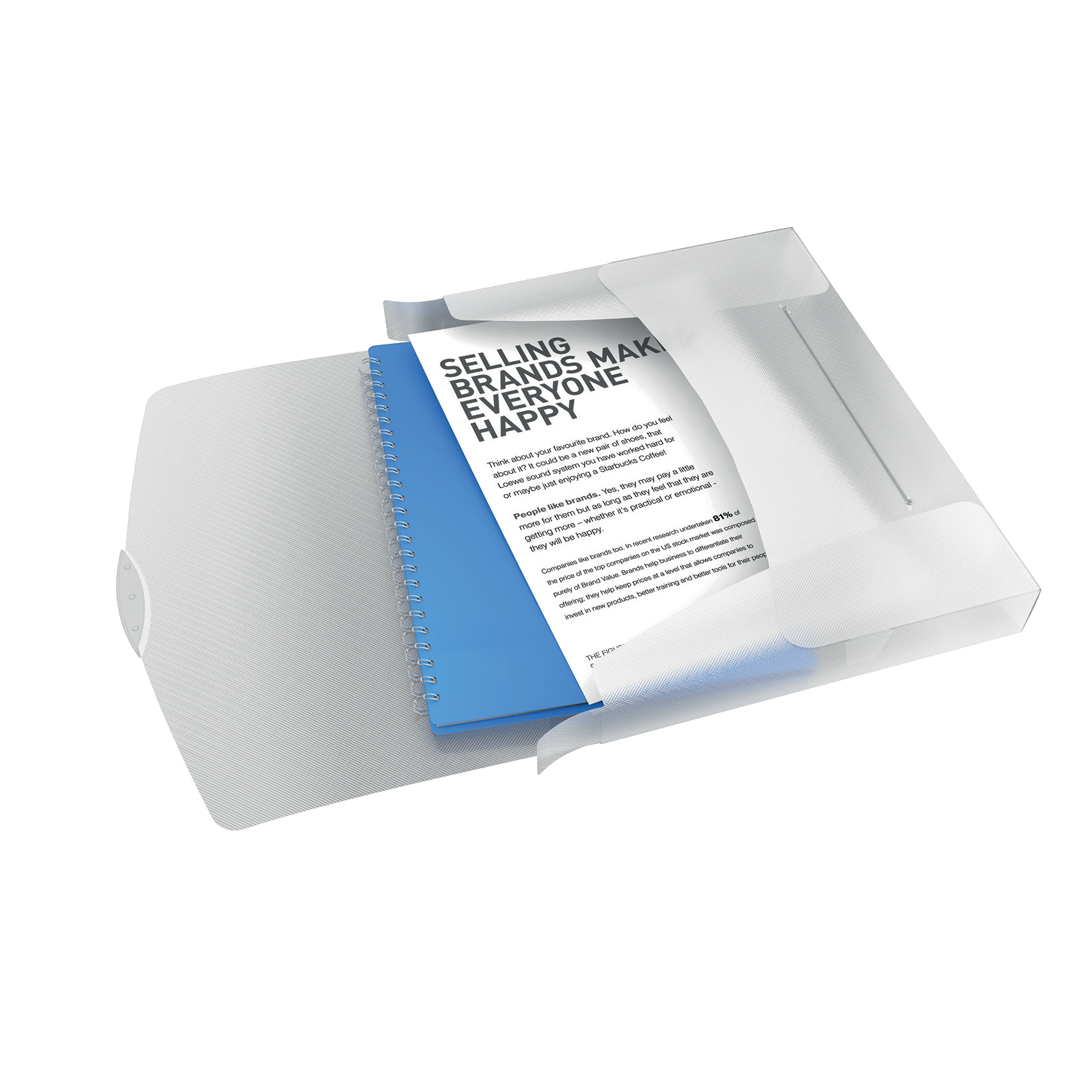 Rexel Choices Box File PP Elastic Strap 40mm Spine A4 Trans White Ref 2115670