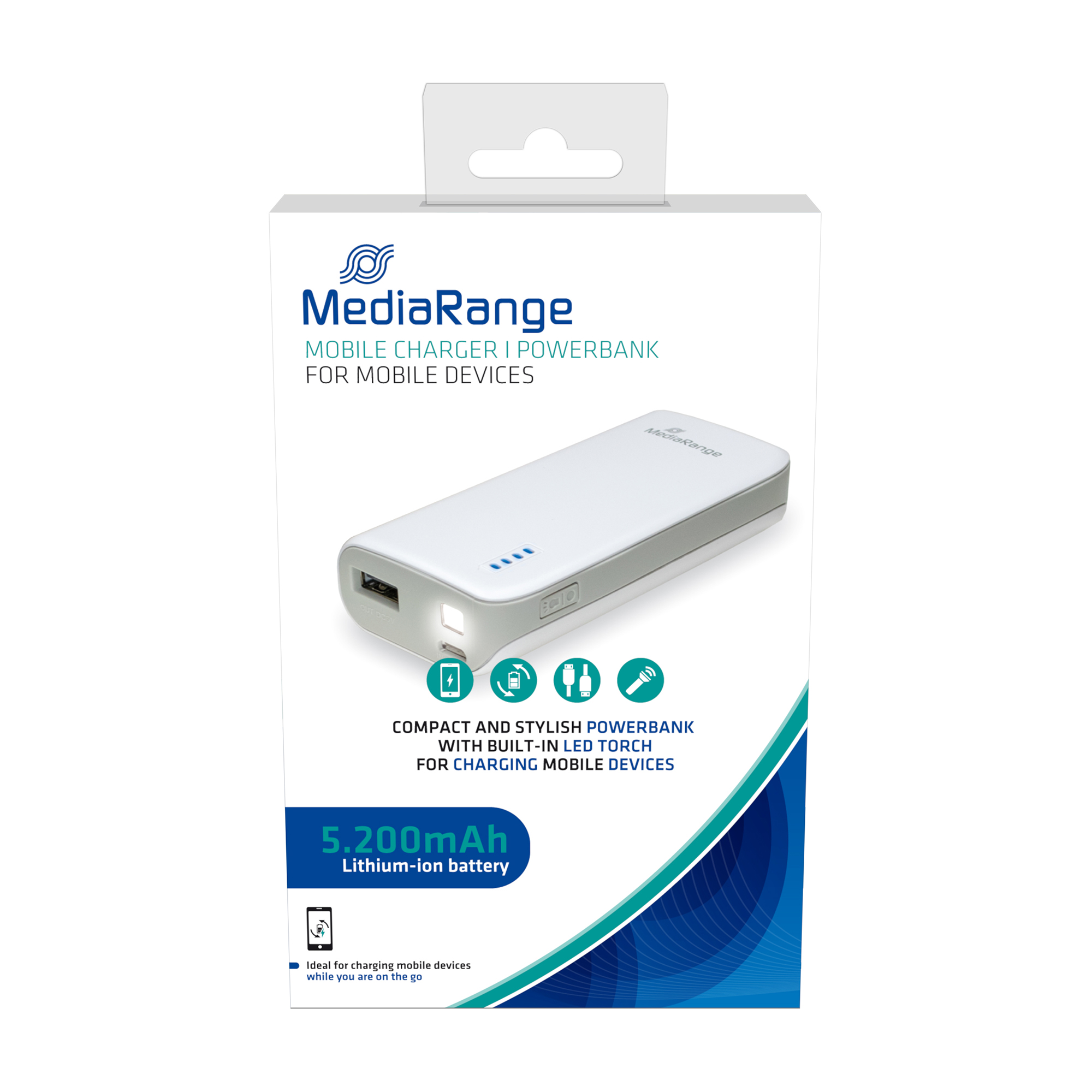 Rechargeable batteries MediaRange Powerbank With Built-in LED Torch 5200 mAh Ref MR751