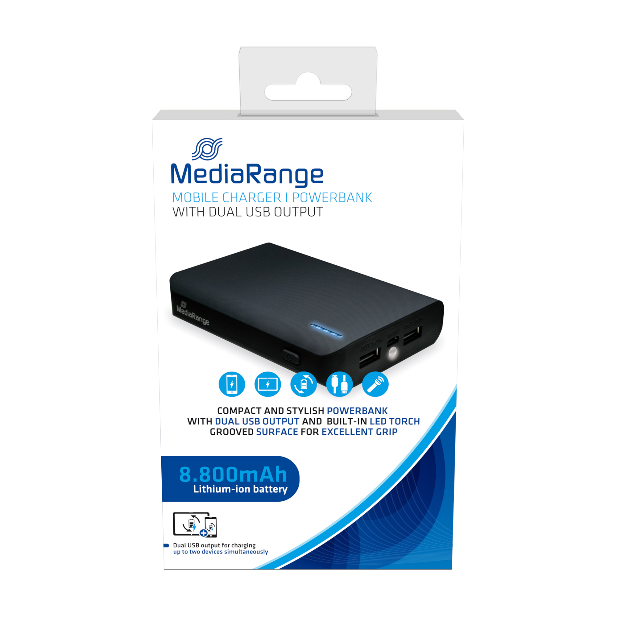MediaRange Powerbank With Built-in LED Torch 8800 mAh Ref MR752