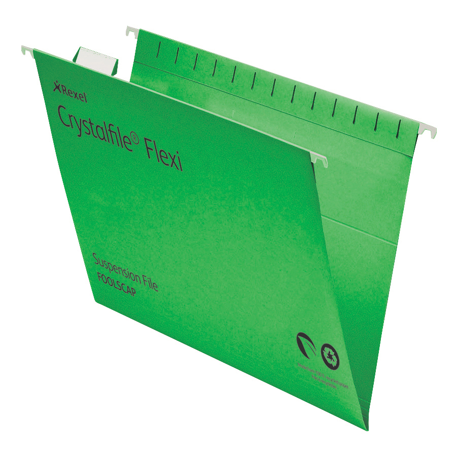 Rexel Crystalfile Flexifile Suspension File 15mm V-base 225gsm Foolscap Green Ref 3000040 Pack 50