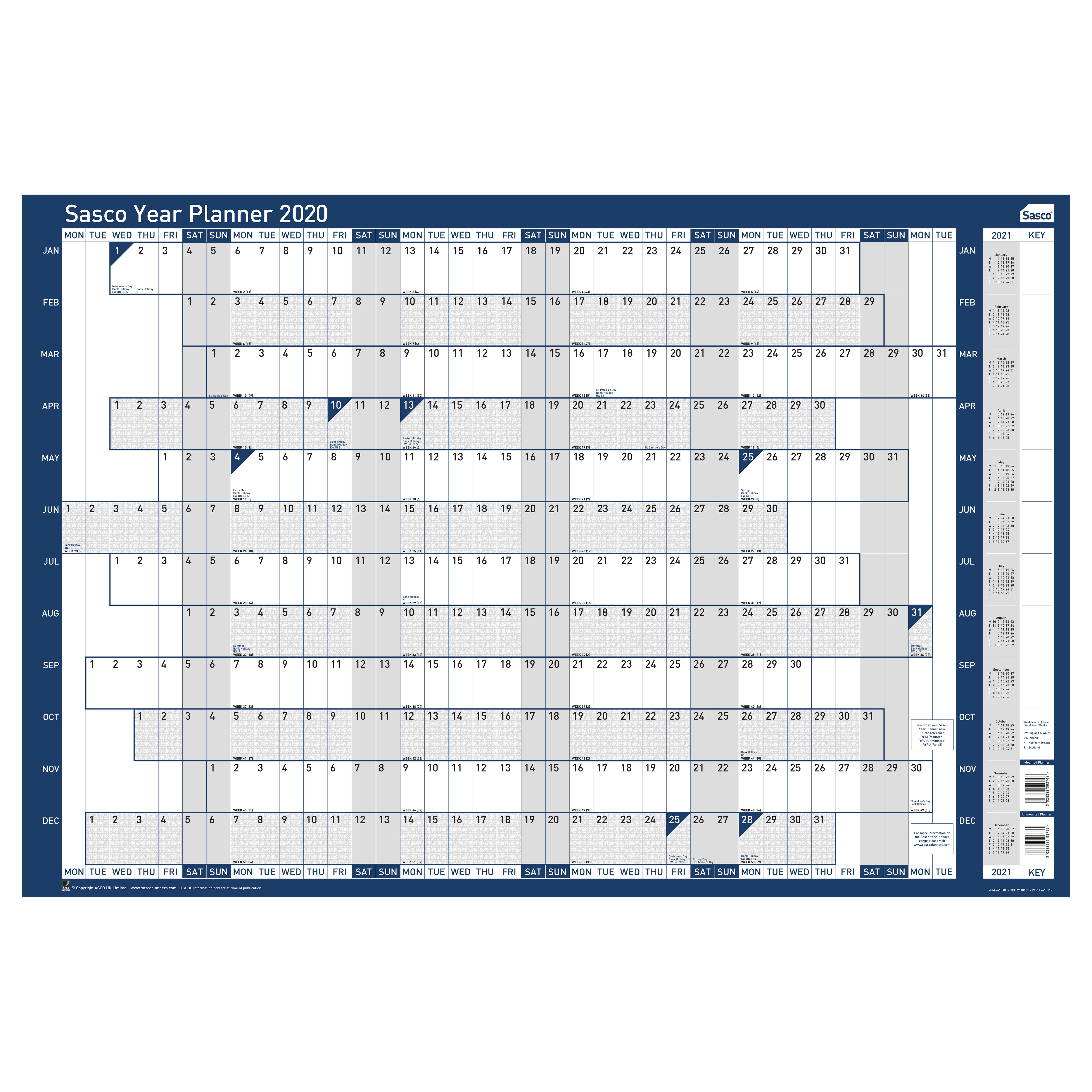 Planners Sasco 2020 Year Planner Mounted Landscape 915x610mm Ref 2410100 REDEMPTION Jul-Sep19