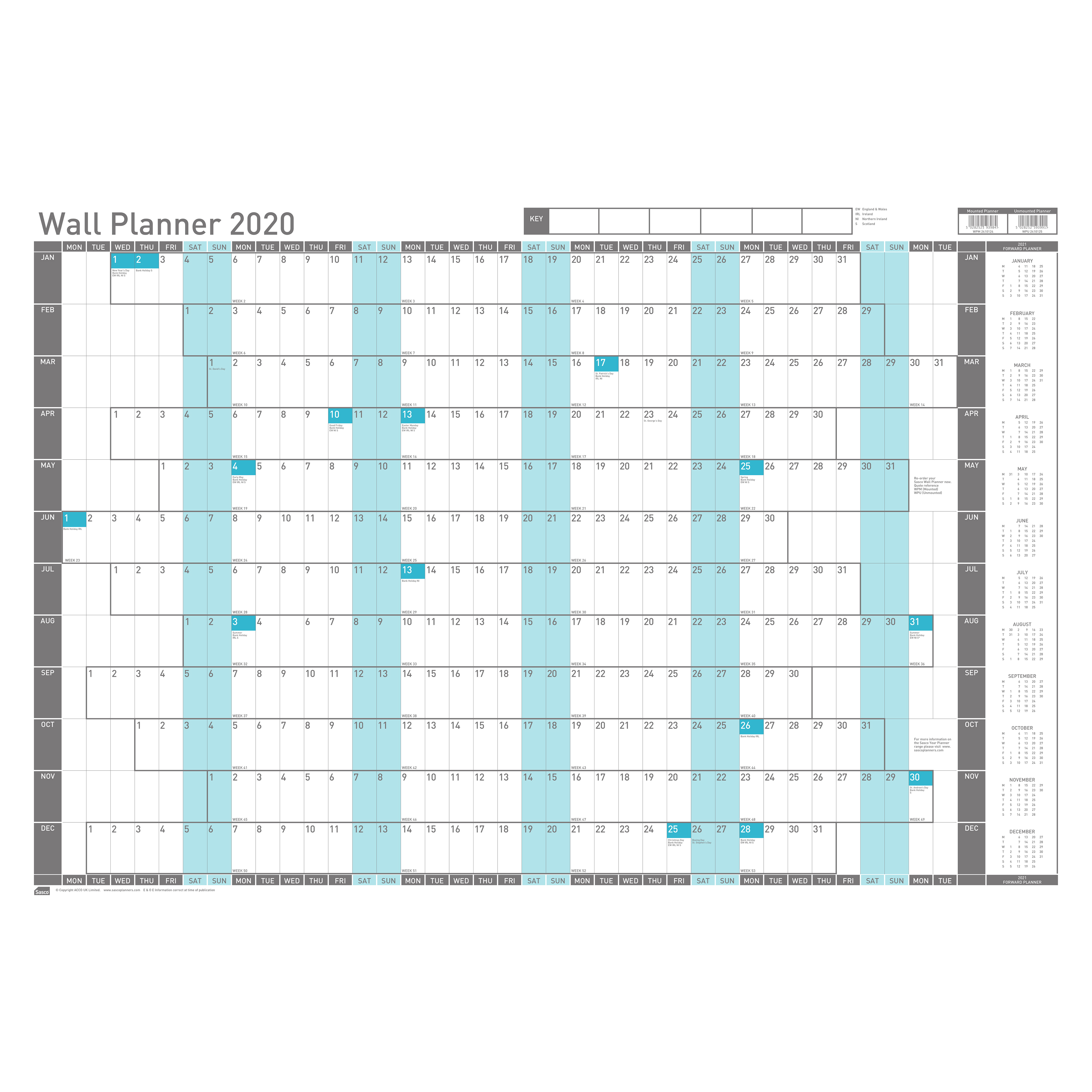 Sasco 2020 Wall Planner Mounted with Pen Kit Landscape 915x610mm White Ref 2410124