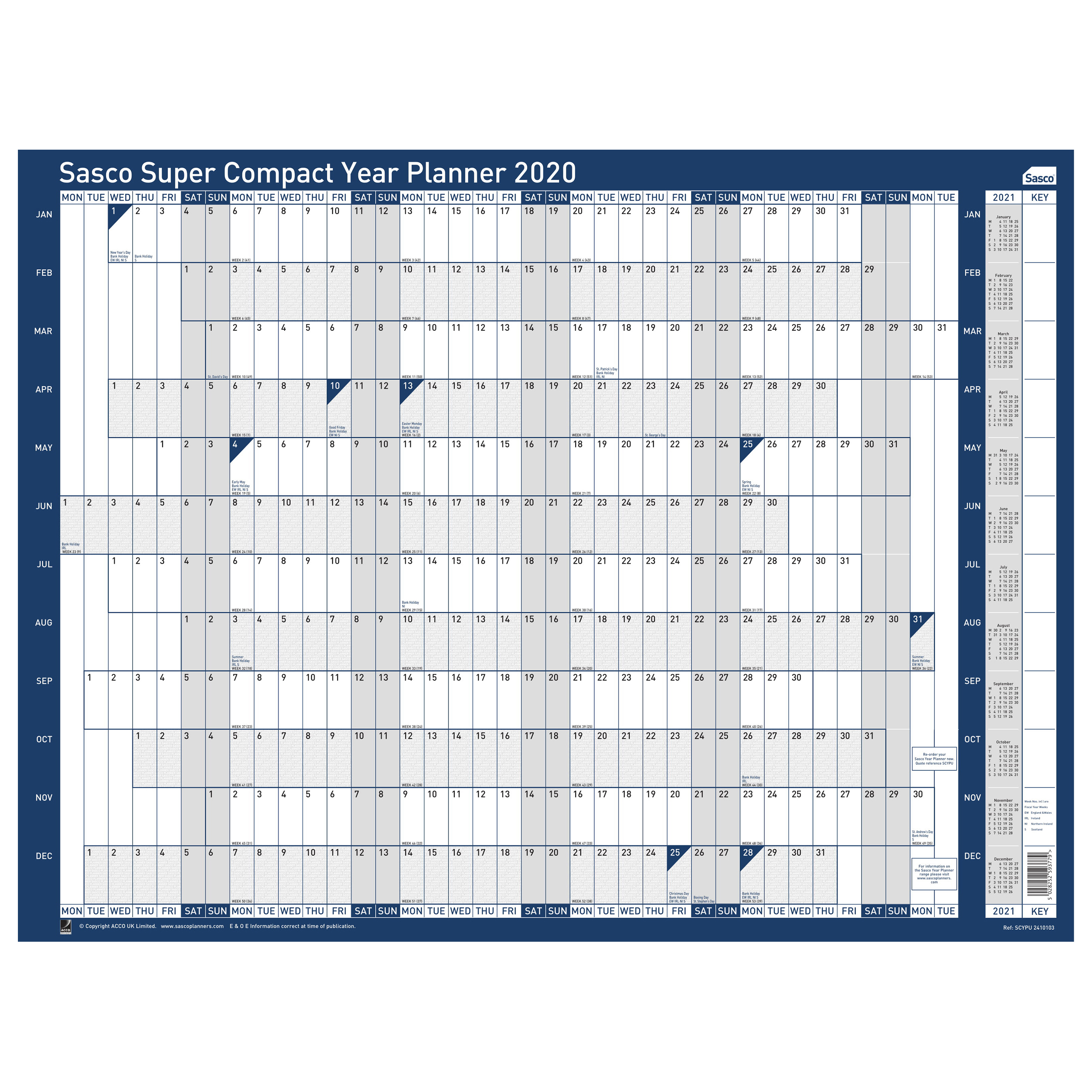 Planners Sasco 2020 Super Compact Year Planner Unmounted 400x285mm Ref 2410103 REDEMPTION Jul-Sep19